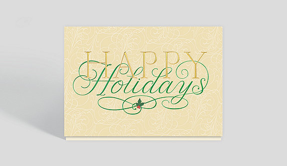 Silver Garland Holidays Card